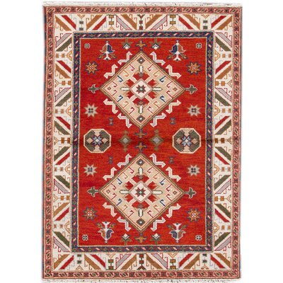 Kazak Hand-Knotted Red/Blue/Orange Area Rug