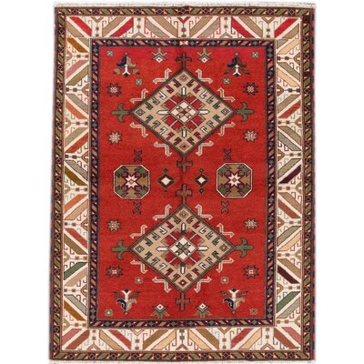 Kazak Hand-Knotted Red/Brown/Beige Area Rug