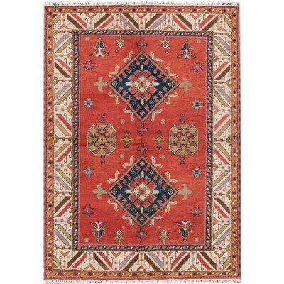 Kazak Hand-Knotted Red/Orange Area Rug