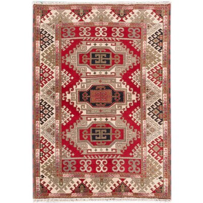 Kazak Hand-Knotted Red/Beige Area Rug