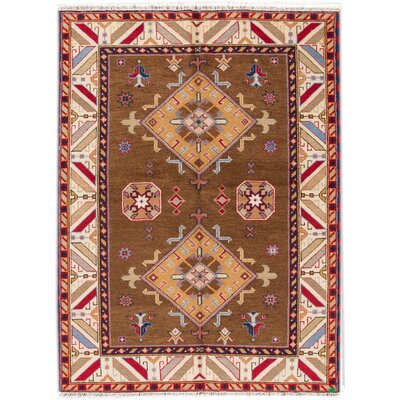 Kazak Hand-Knotted Brown/Red/Blue Area Rug
