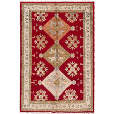 Kazak Hand-Knotted Red/Beige/Orange Area Rug