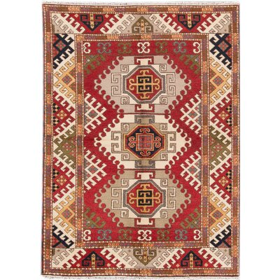 Kazak Hand-Knotted Red/Black/Orange Area Rug