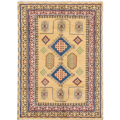 Kazak Hand-Knotted Beige/Blue/Red Area Rug