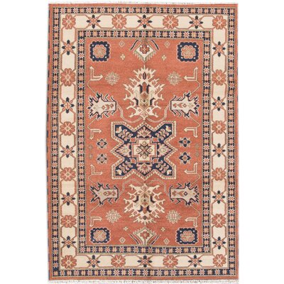 Kazak Hand-Knotted Orange/Beige Area Rug
