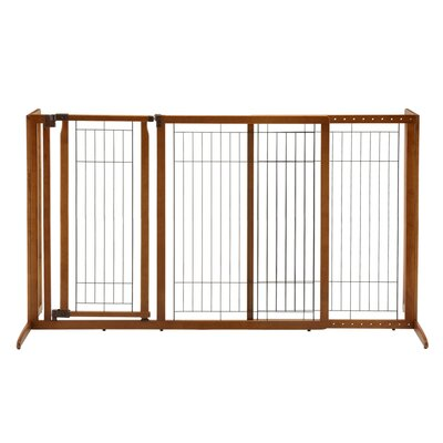 Deluxe Freestanding Pet Gate with Door Size: Large (36.2 H x 90.2 W x 27 D)