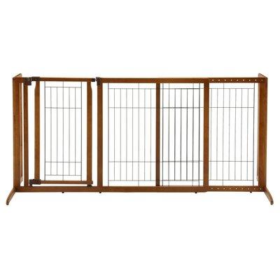 Deluxe Freestanding Pet Gate with Door Size: Medium (28.1 H x 90.2 W x 24 D )