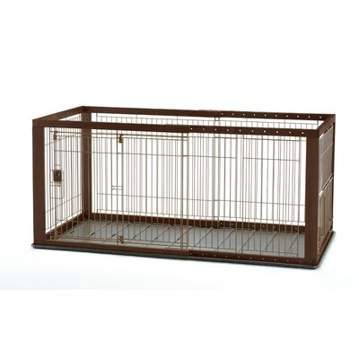 Expandable Pet Crate with Floor Tray Size: Medium (28 H x 32.1 W x 37 - 62.2 L)