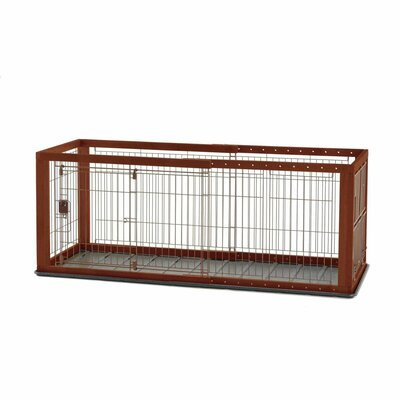 Expandable Pet Crate with Floor Tray Color: Natural Wood, Size: Medium