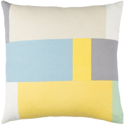Lina Cotton Pillow Cover Size: 18 H x 18 W x 1 D, Color: Yellow / Beige