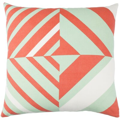 Lina Cotton Pillow Cover Size: 18 H x 18 W x 1 D, Color: Green / Orange