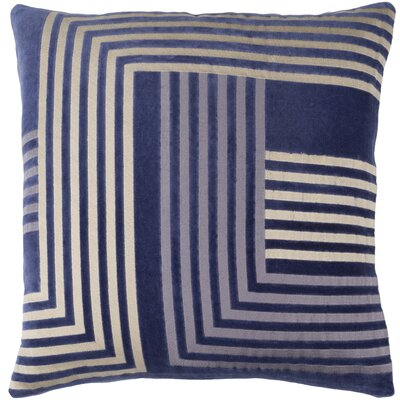 Intermezzo Cotton Pillow Cover Size: 18 H x 18 W x 1 D, Color: Navy / Beige