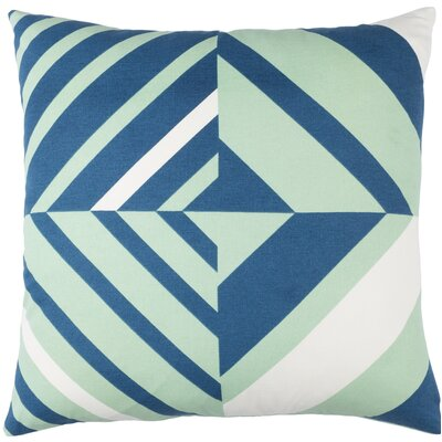 Lina Cotton Pillow Cover Size: 18 H x 18 W x 1 D, Color: Green / Blue