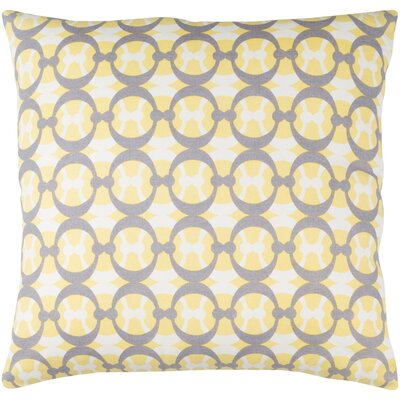 Lina Cotton Pillow Cover Size: 18 H x 18 W x 1 D, Color: Yellow / Gray