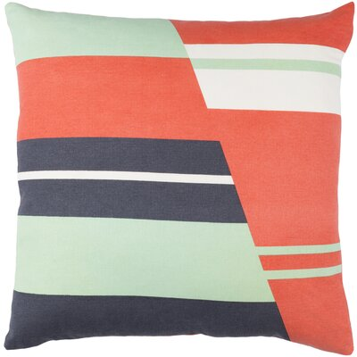 Lina Cotton Pillow Cover Size: 18 H x 18 W x 1 D, Color: Orange / Gray