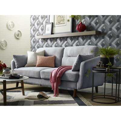 Chloe Mid-Century Modern Loveseat Upholstery: Light Gray