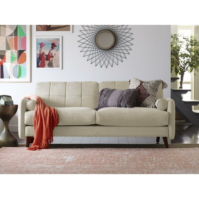 Natalie Mid-Century Modern Loveseat Upholstery: Beige