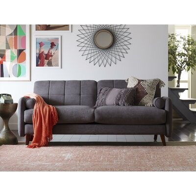 Natalie Mid-Century Modern Loveseat Upholstery: Dark Gray