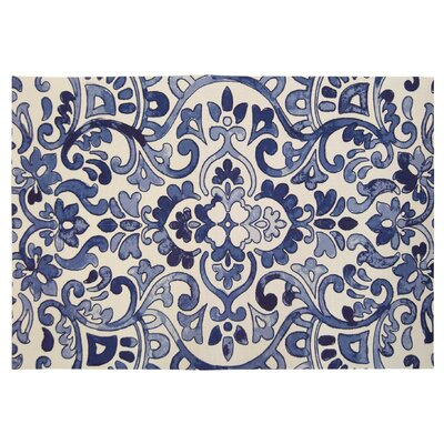 Brush Strokes Blue/Ivory Indoor/Outdoor Area Rug Rug Size: 24 X 39