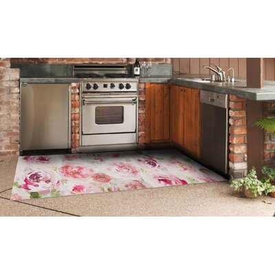 Brush Strokes Floral Pink Indoor/Outdoor Area Rug Rug Size: 24 X 39