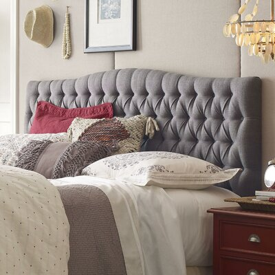 Upholstered Panel Headboard Upholstery: Gray, Size: Queen