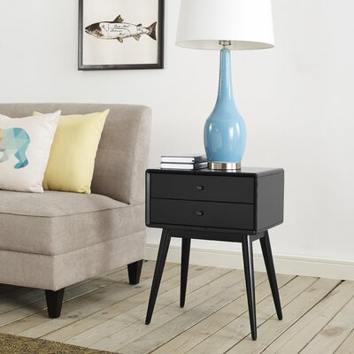 Stephanie End Table with Storage Color: Black