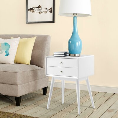 Stephanie End Table with Storage Color: White