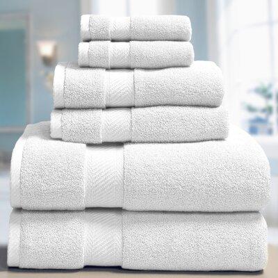 Low Twist Weave 6 Piece Towel Set Color: White