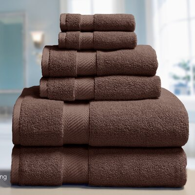 Low Twist Weave 6 Piece Towel Set Color: Mustang
