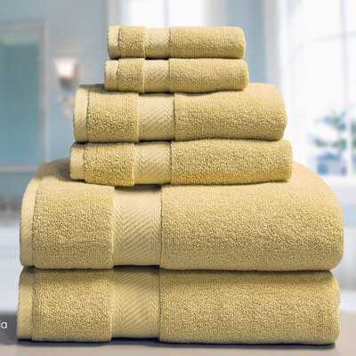 Low Twist Weave 6 Piece Towel Set Color: Raffia