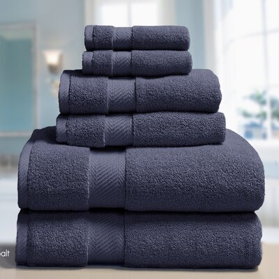 Low Twist Weave 6 Piece Towel Set Color: Cobalt