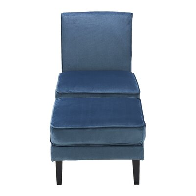 Olivia Slipper Chair and Ottoman Upholstery: Cobalt