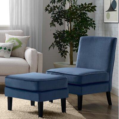 Olivia Slipper Chair and Ottoman Upholstery: Cobalt