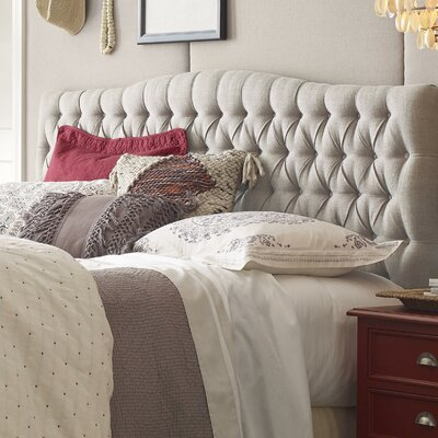 Upholstered Panel Headboard Size: King, Upholstery: Beige