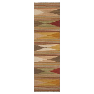 Vacaville Brown & Tan Area Rug Rug Size: Runner 23 x 12