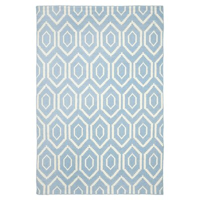 Dhurries Blue & Ivory Area Rug Rug Size: Runner 26 x 6