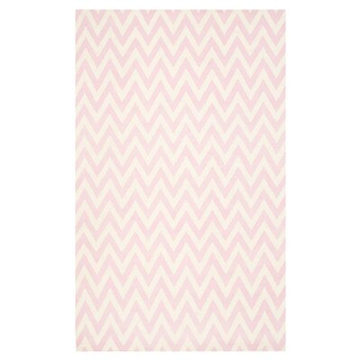 Dhurries Pink & Ivory Area Rug Rug Size: 4 x 6