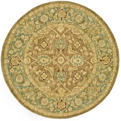 Anatolia Hand-Tufted Yellow/Green Area Rug Rug Size: Round 4