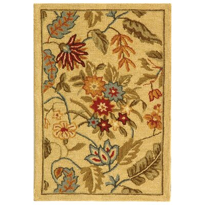 Helena Missy Floral Hand Hooked Wool Ivory/Red Area Rug Rug Size: Rectangle 26 x 4