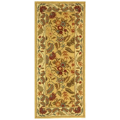 Helena Missy Floral Hand Hooked Wool Ivory/Red Area Rug Rug Size: Runner 26 x 6