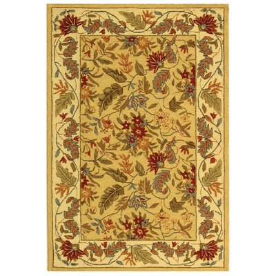 Helena Missy Floral Hand Hooked Wool Ivory/Red Area Rug Rug Size: Rectangle 39 x 59
