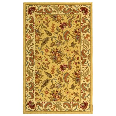 Helena Missy Floral Hand Hooked Wool Ivory/Red Area Rug Rug Size: Rectangle 53 x 83