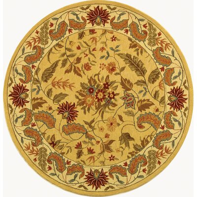 Helena Missy Floral Hand Hooked Wool Ivory/Red Area Rug Rug Size: Round 56