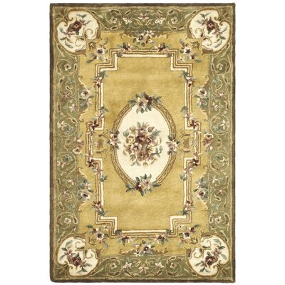 Classic Light Gold / Green Area Rug Rug Size: 4' x 6'