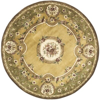 Classic Light Gold / Green Area Rug Rug Size: Round 3'6