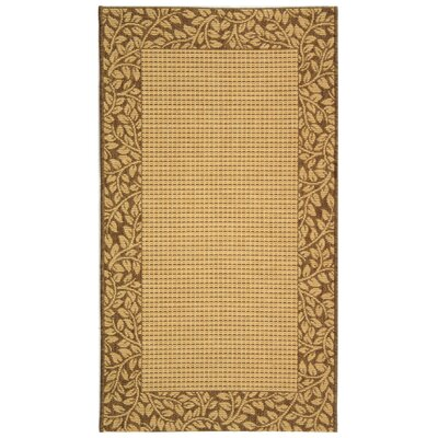 Courtyard Brown / Tan Outdoor Area Rug Rug Size: Runner 2'7