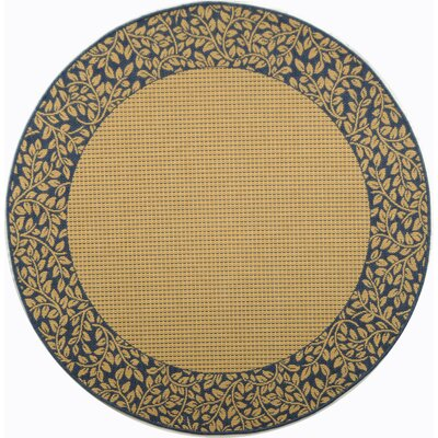Courtyard Brown / Black Outdoor Area Rug Rug Size: Round 6'7