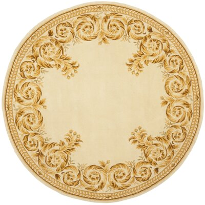 Naples Green/Brown Area Rug Rug Size: Round 6