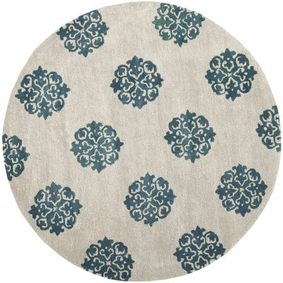 Soho Hand-Woven Wool Ivory/Green Area Rug Rug Size: Round 6