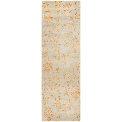 Alvan Hand-Tufted Beige/Orange Area Rug Rug Size: Runner 26 x 8